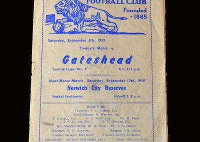 Gateshead v Millwall 05.09.1959