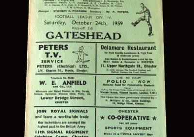 Gateshead v Chester 24.10.1959