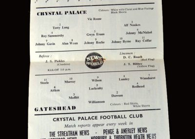 Gateshead v Crystal Palace 19.03.1960