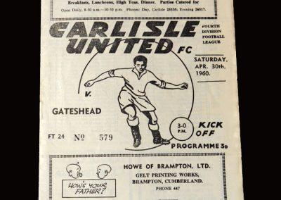 Gateshead v Carlisle 30.04.1960 (Last League Game)