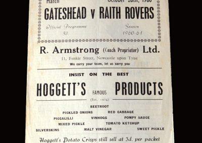 Gateshead v Raith Rovers 28.10.1960