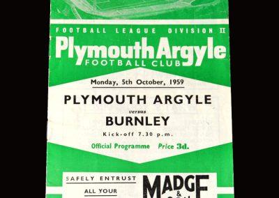 Burnley v Plymouth 05.10.1959