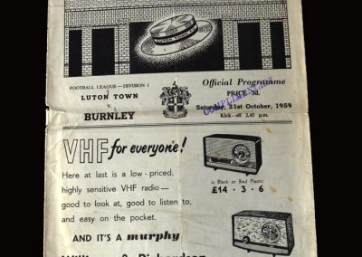 Burnley v Luton 31.10.1959