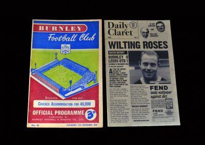 Burnley v Leeds 19.12.1959
