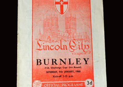 Burnley v Licoln City 09.01.1960 (FA Cup Round 3)