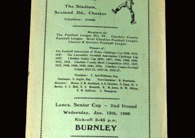 Burnley Reserves v Chester Reserves 13.01.1960
