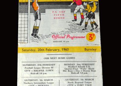 Burnley v Bradford 20.02.1960 (FA Cup Round 5)