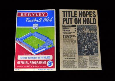 Burnley v Fulham 30.04.1960