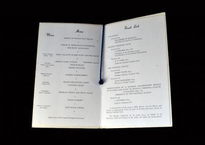 Burnley Champions Celebration Menu 18.10.1960