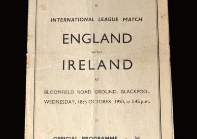 English League v Irish League 18.10.1950