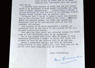 England v Australia 23.06.1951 (Bradman letter)