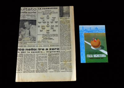 Italy v England 18.05.1952 (Newspaper and Card)