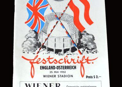 Austria v England 25.05.1952 (Wiener Issue)