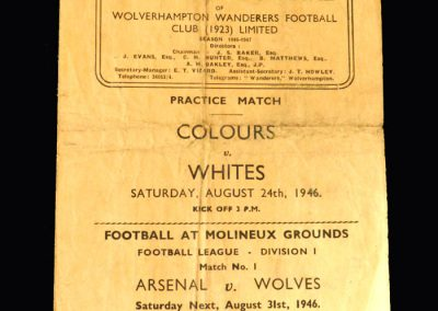 Colours v Whites 24.08.1946 (Preseason public practice game)