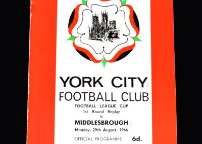 Middlesbrough v York 29.08.1966 (League Cup Round 1 Replay)
