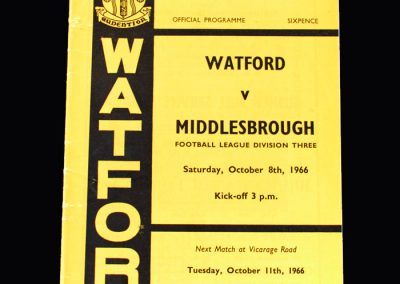 Middlesbrough v Watford 08.10.1966 - (Willie Whigham debut)