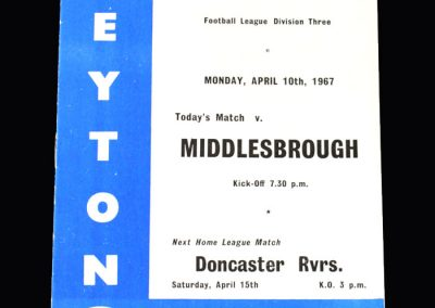 Middlesbrough v Leyton Orient 10.04.1967