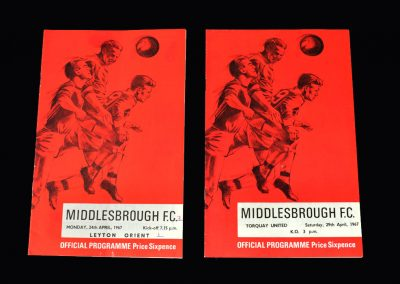 Middlesbrough v Leyton Orient 24.04.1967 | Middlesbrough v Torquay 29.04.1967