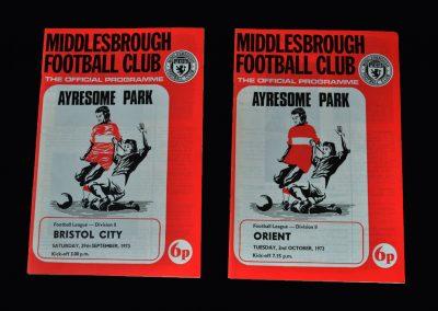 Middlesbrough v Bristol City 29.09.1973 | Middlesbrough v Leyton Orient 02.10.1973
