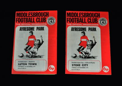Middlesbrough v Luton 03.11.1973 | Middlesbrough v Stoke City 06.11.1973 (League Cup Round 3 Replay)