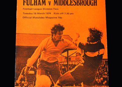 Middlesbrough v Fulham 19.03.1974 (Bobby Moore debut)