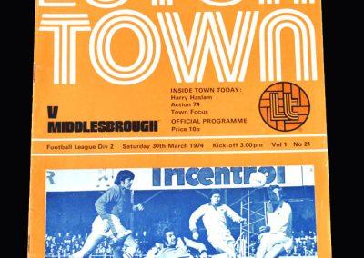 Middlesbrough v Luton 30.03.1974