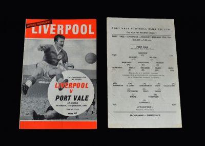 Liverpool v Port Vale 25.01.1964 (FA Cup 4th Round) | Liverpool v Port Vale 27.01.1964 (FA Cup 4th Round Replay)