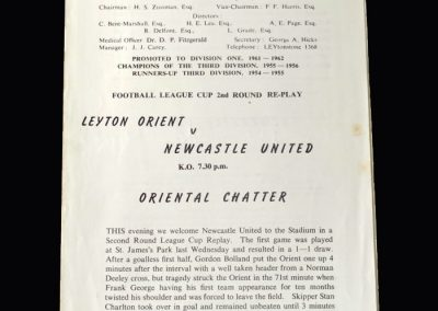Orient v Newcastle 01.10.1962 (League Cup 2nd Round Replay)