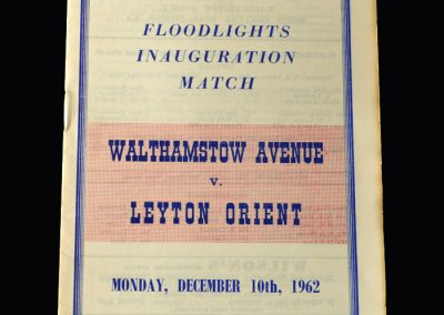 Orient v Walthamstow 10.12.1962