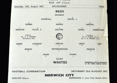 Reds v Whites 16.08.1952 (Practice Match)