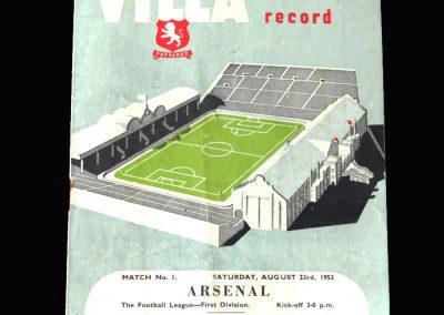 Arsenal v Aston Villa 23.08.1952