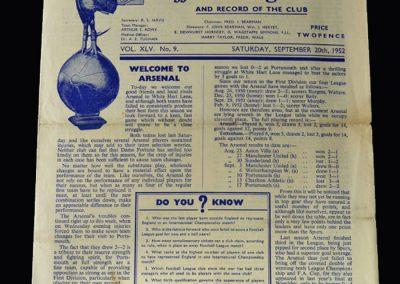 Arsenal v Spurs 20.09.1952