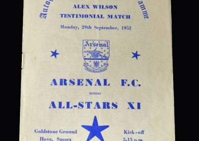 Arsenal v All Stars 11 29.09.1952 (Alex Wilson Testimonial)