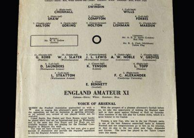 Arsenal v England Amateur 11 10.11.1952