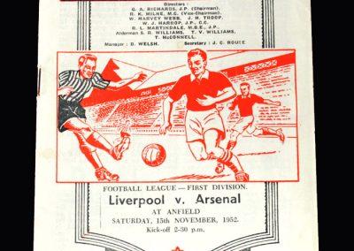 Arsenal v Liverpool 15.11.1952