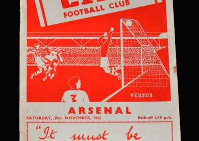 Arsenal v Stoke 29.11.1952