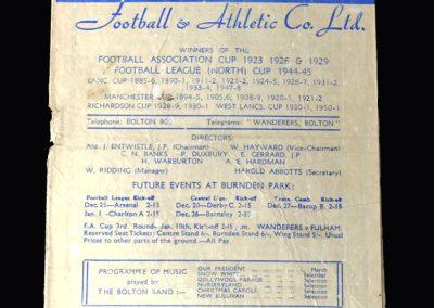 Arsenal v Bolton 25.12.1952