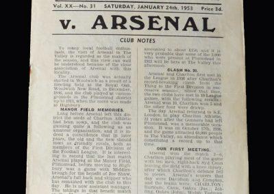 Arsenal v Charlton 24.01.1953