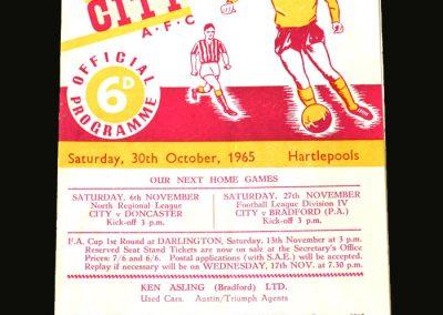 Bradford City v Hartlepools 30.10.1965 (1st Game)