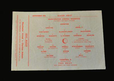 Man Utd Reserves v The Rest if the League 29.09.1956