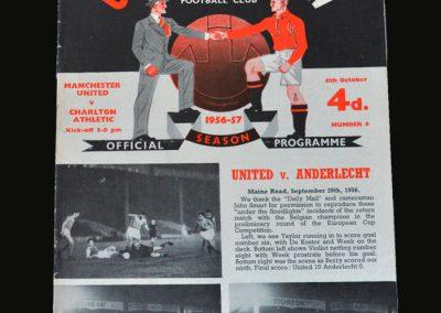 Man Utd v Charlton 06.10.1956 Bobby Charlton league debut