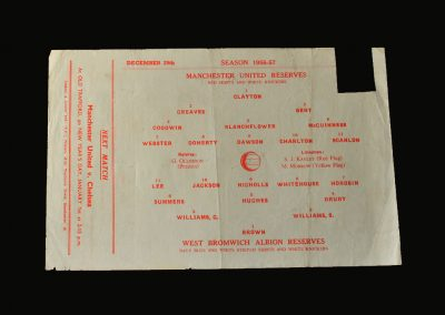 Man Utd Reserves v West Brom Reserves 29.12.1956
