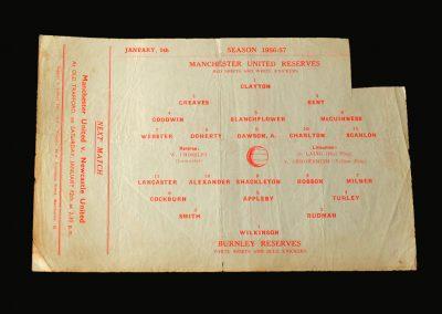 Man Utd Reserves v Burnley Reserves 05.01.1957