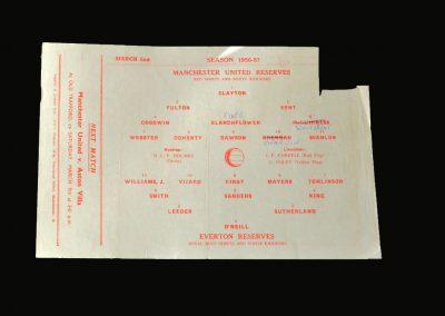 Man Utd Reserves v Everton Reserves 02.03.1957