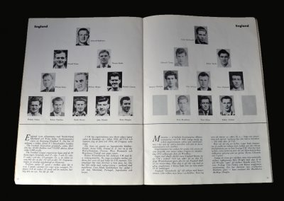 1958 Word Cup Souvenir Tournament Brochure England Team Page