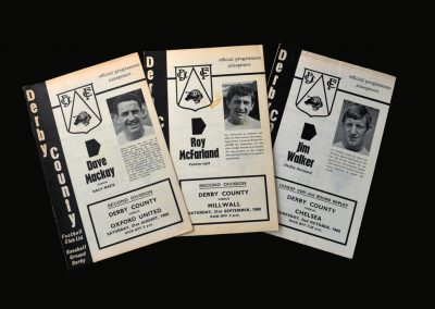 Derby v Oxford 31.08.1968 | Derby v Millwall 21.09.1968 | Derby v Chelsea 02.10.1968 (League Cup 3rd Round Replay)