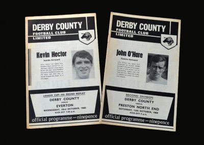 Derby v Preston 12.10.1968 | Derby v Everton 23.10.1968 (League Cup 4th Round Replay)