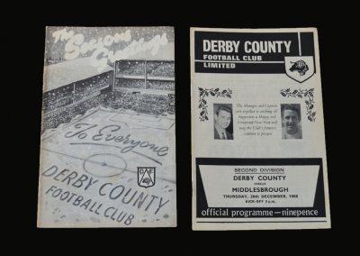 Derby v Portsmouth 21.12.1968 | Derby v Middlesbrough 26.12.1968