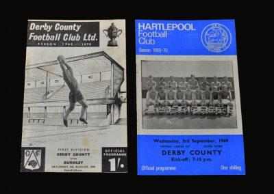 Derby v Burnley 09.08.1969 (Back in 1st Division) | Hartlepool v Derby 03.09.1969 (League Cup 2nd Round - Back at Hartlepool)