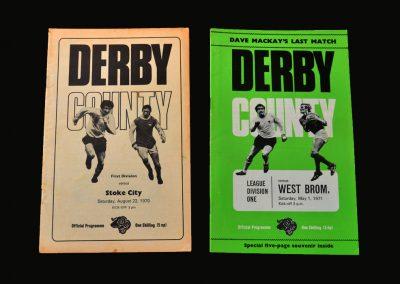 Derby v Stoke 22.08.1970 | Derby v West Brom 01.05.1971 (Mackay's last match)